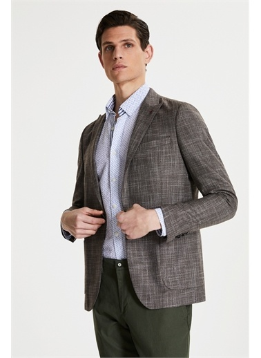Tween Slim Fit Desenli Kumaş Ceket Kahve